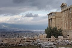 The Parthenon on the acropolis high above Athens Royalty Free Stock Images