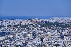 Parthenon on acropolis hill and Athens cityscape Stock Images