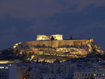 Parthenon and Acropolis in the twilight Royalty Free Stock Photos