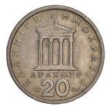 Parthenon, ancient Greek temple. Schematically represented on old circulated 20 drachma coin from 1984 (copper Royalty Free Stock Photo