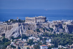 Parthenon ancient Greek temple on acropolis hill and Plaka Stock Images