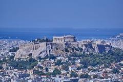 Parthenon ancient Greek temple on acropolis hill and Plaka Stock Photos
