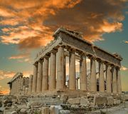 Parthenon ancient greek temple in greek capital Athens Greece. Clouds sky Royalty Free Stock Image