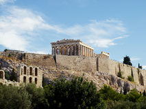 Parthenon and arches of Herodion, Athens Royalty Free Stock Photography