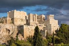 The Parthenon on the Athenian Acropolis, Greece, dedicated to the goddess Athena. Stock Photos