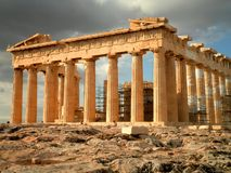 Parthenon in Athens. Amazing ruins of the Parthenon temple in Athens royalty free stock images