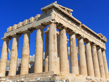 Parthenon - Athens. An angular view of the Parthenon's facade, the greatest Greek monument, in Athens Stock Photo