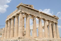 Parthenon, Athens, Greece ancient temple. Ancient Greek Temple, the Parthenon, in Athens and the ruins around it. Acropolis. Dedicated to Athena Royalty Free Stock Image