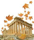 Parthenon athens greece autumn falling leaves royalty free stock photography