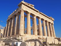 The Parthenon, Athens, Greece. The Parthenon against a bright blue sky in Athens, Greece Royalty Free Stock Image