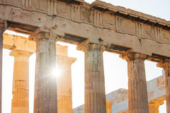The Parthenon in Athens, Greece. The Sun shines through the colonnade of the Parthenon in Athens, Greece Stock Images