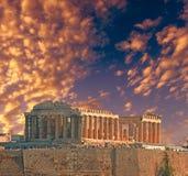 Parthenon autumn sunset Athens Greece royalty free stock photo