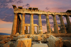 Parthenon bij zonsondergang Stock Foto