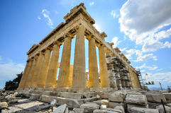 Parthenon with construction scaffold Stock Images