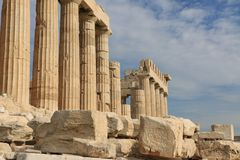 PARTHENON - de AKROPOLIS - ATHENE - de geschiedenis speking Stock Foto's