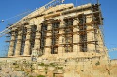 Parthenon in de akropolis vooraanzicht van Athene royalty-vrije stock fotografie