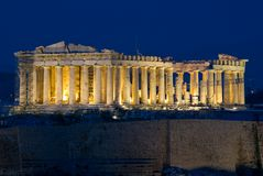 Parthenon de la acrópolis en la noche Fotografía de archivo