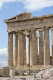 Parthenon eastern part. The Parthenon is a temple of the Greek goddess Athena, whom the people of Athens considered their protector. Its construction began in Royalty Free Stock Photo