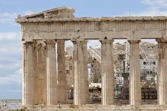 Parthenon eastern part. The Parthenon is a temple of the Greek goddess Athena, whom the people of Athens considered their protector. Its construction began in Stock Photo