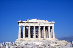 Parthenon - frontal view. Parthenon temple at sunset. The place where democracy was born royalty free stock photo