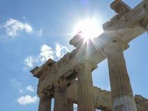 Parthenon gebaad door zonlicht royalty-vrije stock afbeeldingen