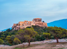 Parthenon and Herodium construction in Acropolis Hill in Athens Royalty Free Stock Photo