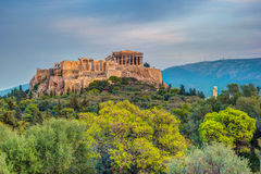 Parthenon and Herodium construction in Acropolis Hill in Athens Stock Photos