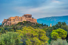 Parthenon and Herodium construction in Acropolis Hill in Athens Royalty Free Stock Photography