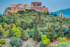 Parthenon and Herodium construction in Acropolis Hill in Athens Stock Photography