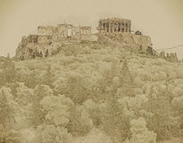 Parthenon and Herodium construction in Acropolis Hill in Athens Stock Images