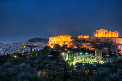 Parthenon and Herodium construction in Acropolis Hill in Athens Stock Image