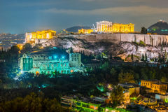 Parthenon and Herodium construction in Acropolis Hill in Athens Royalty Free Stock Image