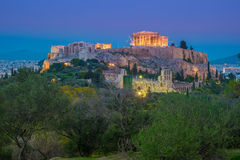 Parthenon and Herodium construction in Acropolis Hill in Athens Royalty Free Stock Images