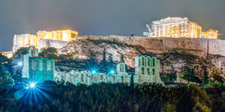 Parthenon and Herodium construction in Acropolis Hill in Athens Royalty Free Stock Photos