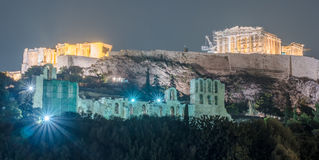 Parthenon and Herodium construction in Acropolis Hill in Athens Stock Photo