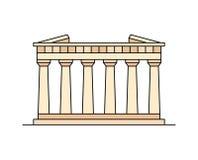 Parthenon in het pictogram van Athene stock illustratie