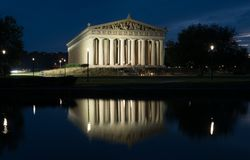 Nashville Parthenon at Night. The Parthenon in Nashville, Tennessee is a full scale replica of the original Parthenon in Greece royalty free stock image