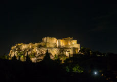 The Parthenon in night Stock Images