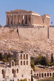 Parthenon and Odeon of Herodes Stock Photos