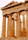 Parthenon op de Akropolis in Athene, Tempel van Hephaestus, Griekenland, zonsondergang royalty-vrije stock afbeelding
