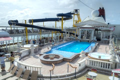Parthenon Pool, Super Star Virgo. The pool on the upmost deck of the Super Star Virgo cruise ship Royalty Free Stock Photos