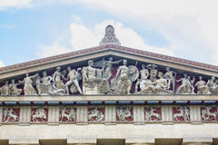 Parthenon Replica Architecture Detail. Architectural detail, showing various statues at roof level of the Parthenon replica in Nashville royalty free stock image