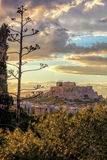Parthenon temple on the Acropolis against colorful sunset in Athens, Greece Royalty Free Stock Image
