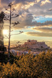 Parthenon temple on the Acropolis against colorful sunset in Athens, Greece Stock Photos