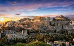 The Parthenon Temple at the Acropolis of Athens, Greece. During colorful sunset