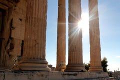 Parthenon temple on the Acropolis of Athens with lights go through, Greece.  Royalty Free Stock Photos