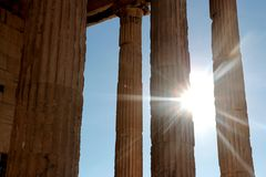 Parthenon temple on the Acropolis of Athens with lights go through, Greece.  Stock Photography