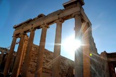 Parthenon temple on the Acropolis of Athens with lights go through, Greece.  Stock Photos