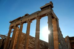 Parthenon temple on the Acropolis of Athens with lights go through, Greece.  Royalty Free Stock Image