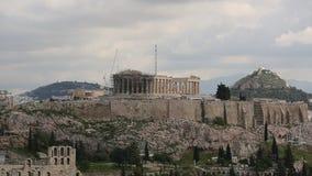 Parthenon temple on the Acropolis hill of Athens stock video